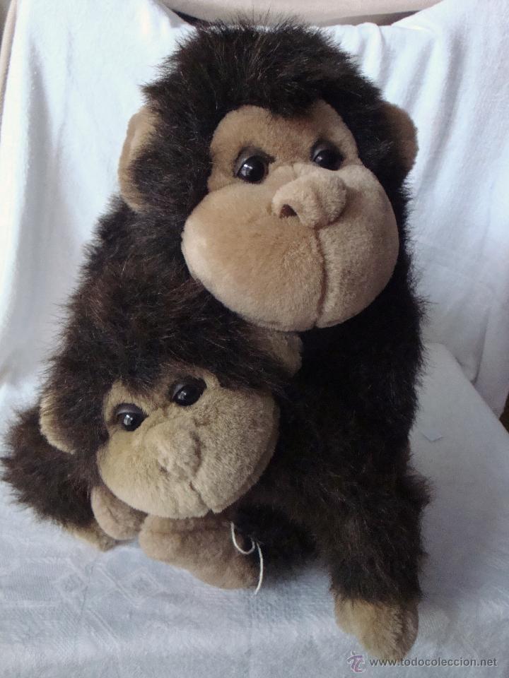 Juguetes Antiguos: Muñeco peluche grande mamá madre e hijo bebé mono monos - Foto 2 - 54521190