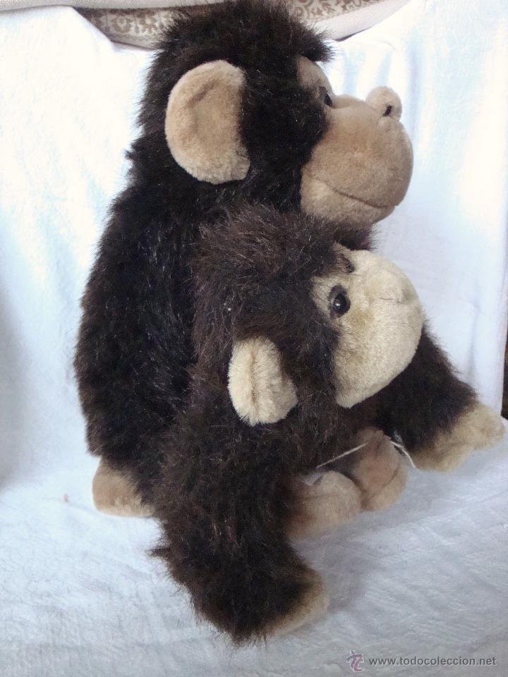 Juguetes Antiguos: Muñeco peluche grande mamá madre e hijo bebé mono monos - Foto 3 - 54521190