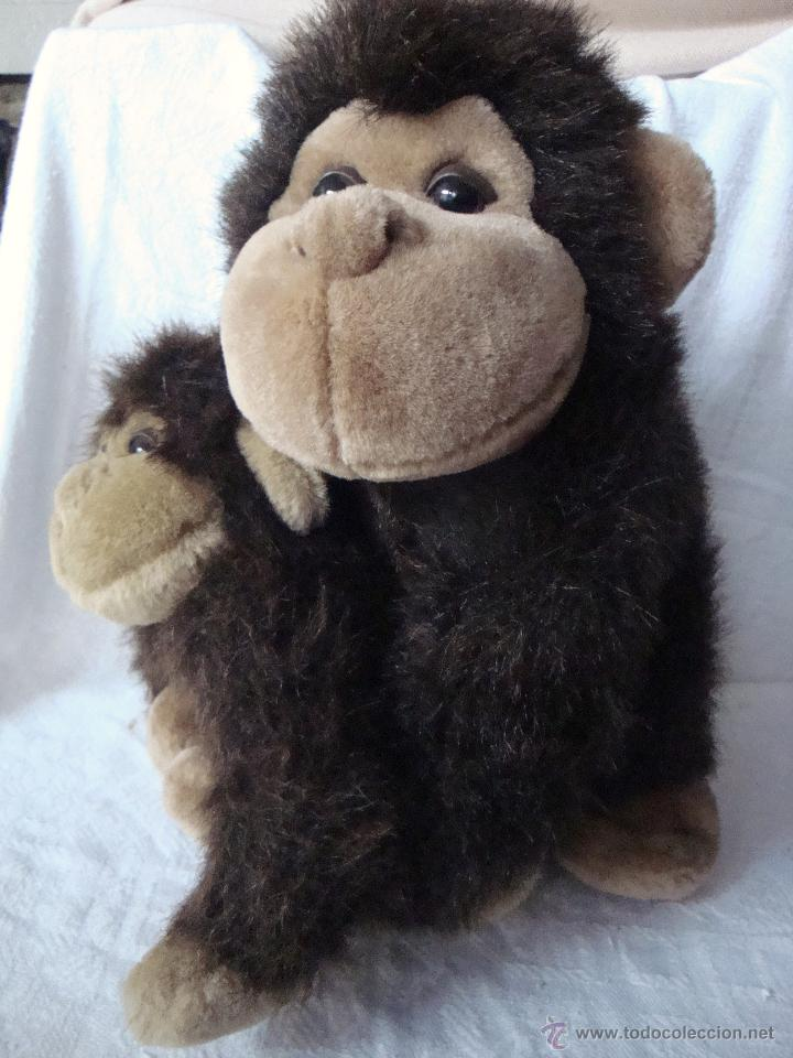 Juguetes Antiguos: Muñeco peluche grande mamá madre e hijo bebé mono monos - Foto 4 - 54521190