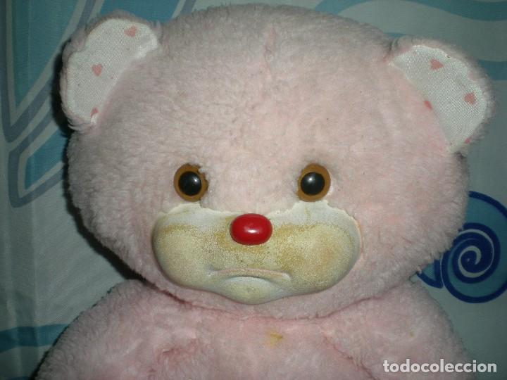 Juguetes Antiguos: raro oso de peluche años 60/70 angeloso o amoroso rosa mide 42 cm carita de goma espuma - Foto 2 - 187639857