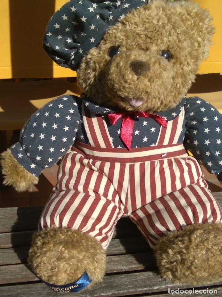 Juguetes Antiguos: OSO TEDDY AMERICANO PELUCHE CON TRAJE BANDERA USA - Foto 2 - 129345927