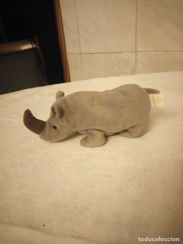 Juguetes Antiguos: Precioso rinoceronte de peluche ty. - Foto 2 - 153862070