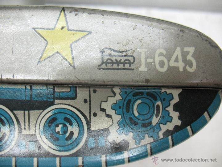 Juguetes antiguos Payá: Tanque Jaguar X-77 I-643 de Hojalata con mecanismo a pilas - Foto 12 - 44149544