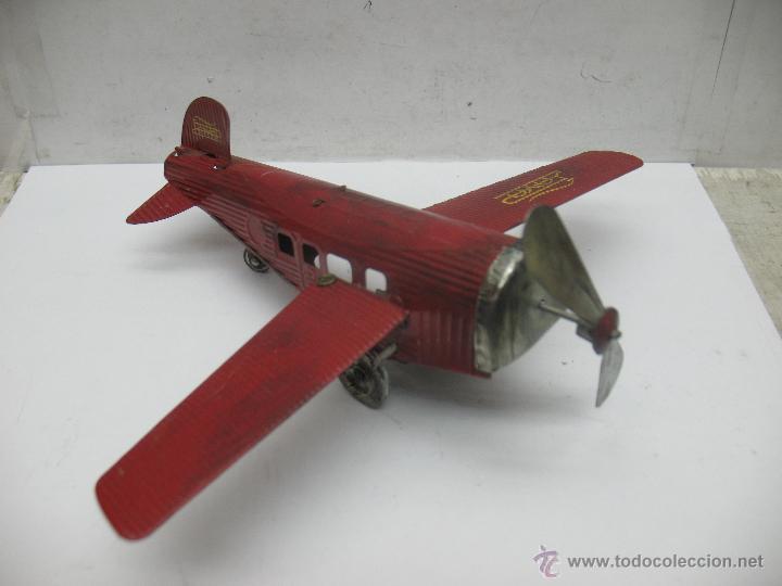 Juguetes antiguos Payá: Paya - Reproducción de avión envejecido de hojalata 1905 con mecanismo a cuerda fabricado en China - Foto 2 - 53351270