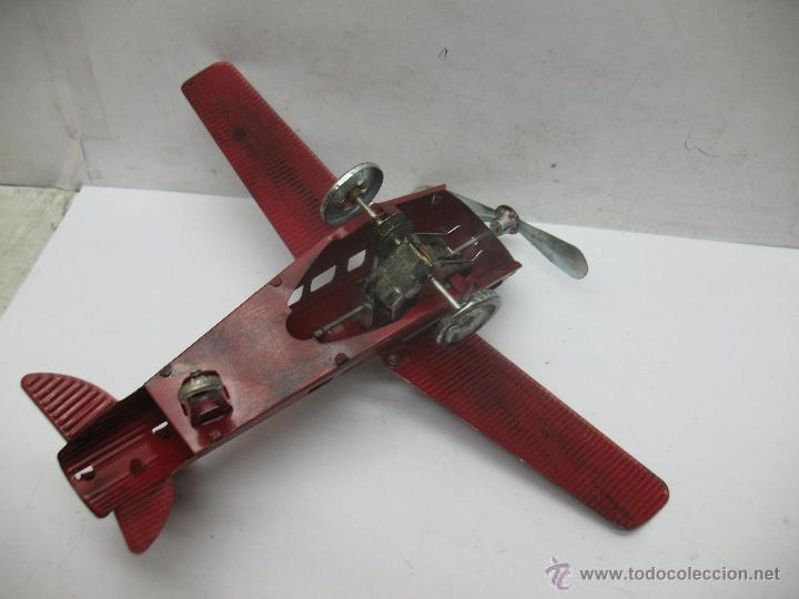 Juguetes antiguos Payá: Paya - Reproducción de avión envejecido de hojalata 1905 con mecanismo a cuerda fabricado en China - Foto 6 - 53351270