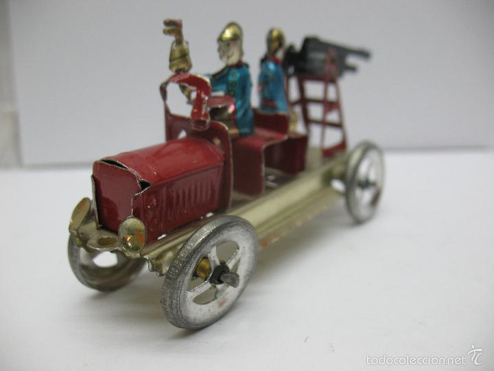 Juguetes antiguos Payá: Paya - Réplica coche de bomberos de hojalata - Foto 4 - 257933620