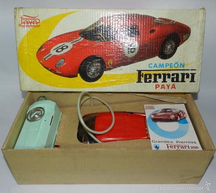 Juguetes antiguos Payá: Coche dirigido por cable, Ferrari Campeón 250 Le Mans 3100, de Payá, Made in Spain, año 1966, en bue - Foto 3 - 57082540