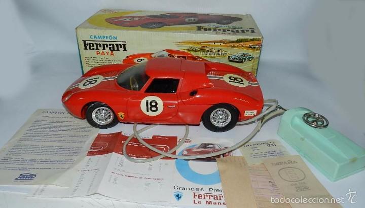 Juguetes antiguos Payá: Coche dirigido por cable, Ferrari Campeón 250 Le Mans 3100, de Payá, Made in Spain, año 1966, en bue - Foto 5 - 57082540
