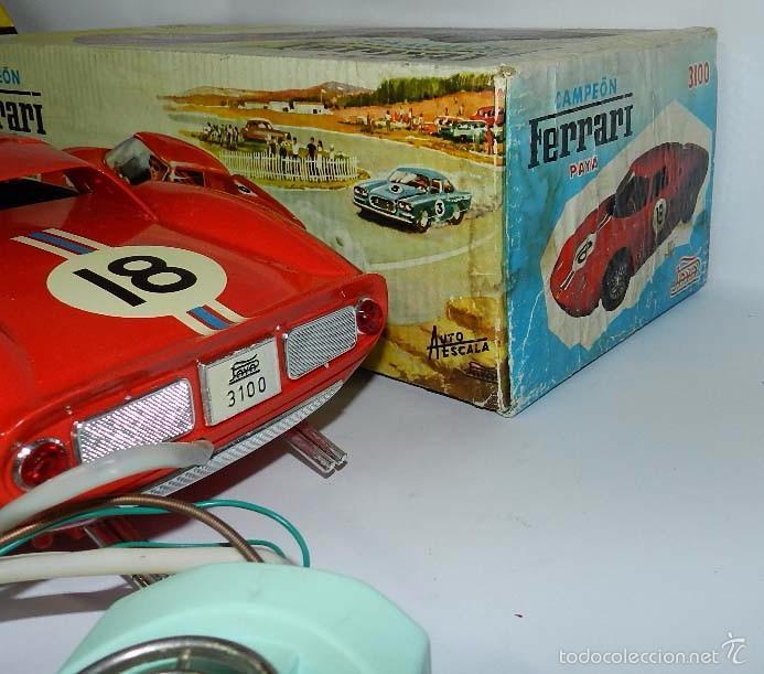 Juguetes antiguos Payá: Coche dirigido por cable, Ferrari Campeón 250 Le Mans 3100, de Payá, Made in Spain, año 1966, en bue - Foto 7 - 57082540