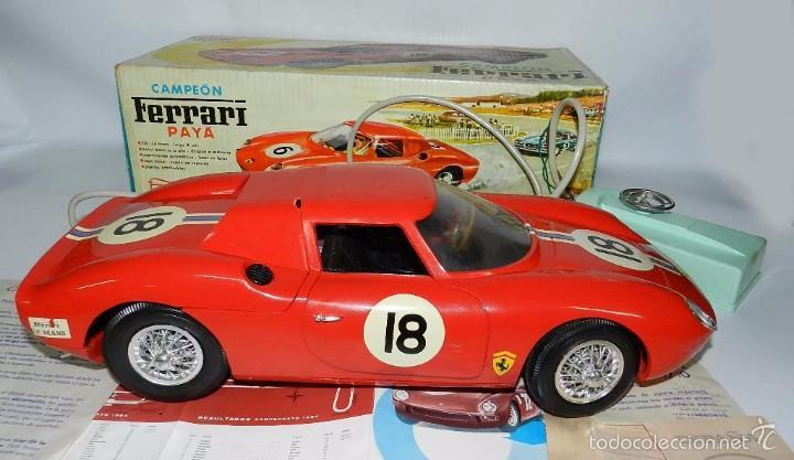 Juguetes antiguos Payá: Coche dirigido por cable, Ferrari Campeón 250 Le Mans 3100, de Payá, Made in Spain, año 1966, en bue - Foto 9 - 57082540