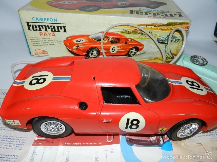 Juguetes antiguos Payá: Coche dirigido por cable, Ferrari Campeón 250 Le Mans 3100, de Payá, Made in Spain, año 1966, en bue - Foto 10 - 57082540
