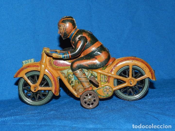 (M) MOTOCICLETA PAYA ANTIGUA DE HOJALATA ( NO REPRODUCCION ) 1922 , 16'5 X 11 CM, SEÑALES DE USO (Juguetes - Marcas Clásicas - Payá)