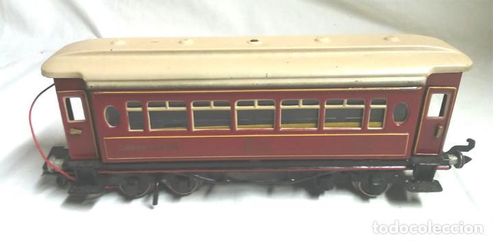 Juguetes antiguos Payá: Tren Escala 0 Locomotora 987 con Tender y 3 Vagones Butacas con luz año 1951 de Paya - Foto 7 - 105281819