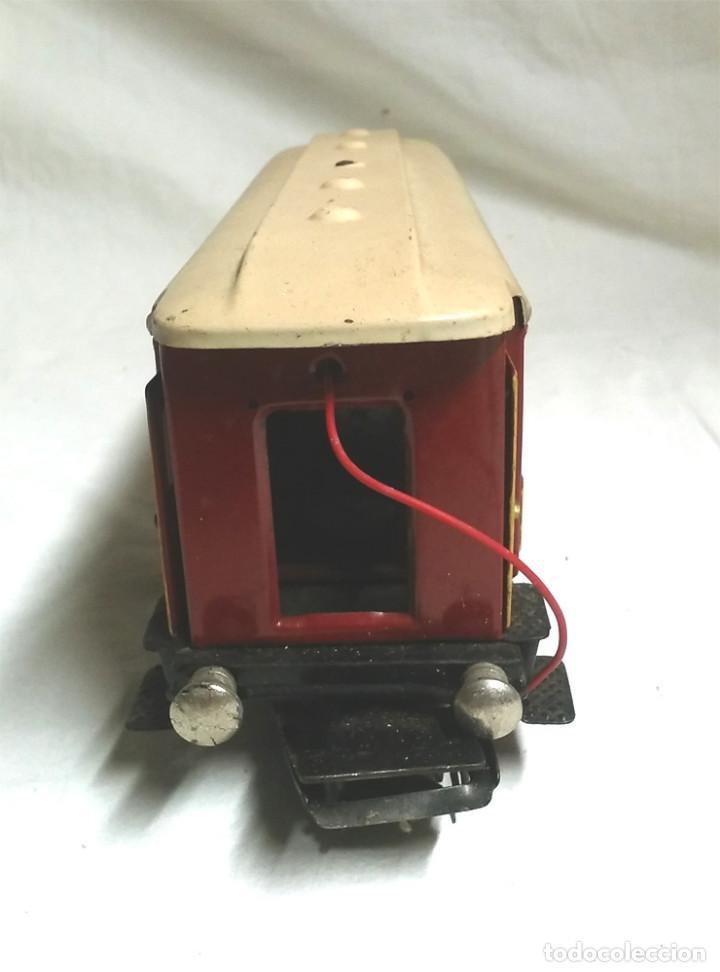 Juguetes antiguos Payá: Tren Escala 0 Locomotora 987 con Tender y 3 Vagones Butacas con luz año 1951 de Paya - Foto 8 - 105281819