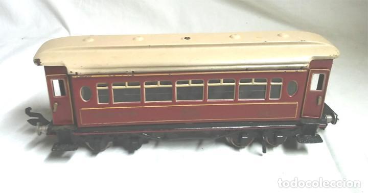 Juguetes antiguos Payá: Tren Escala 0 Locomotora 987 con Tender y 3 Vagones Butacas con luz año 1951 de Paya - Foto 9 - 105281819