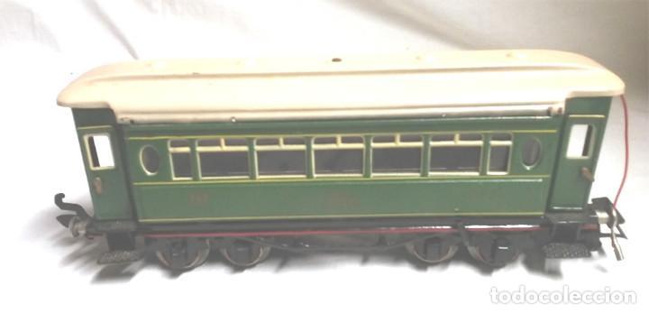 Juguetes antiguos Payá: Tren Escala 0 Locomotora 987 con Tender y 3 Vagones Butacas con luz año 1951 de Paya - Foto 23 - 105281819