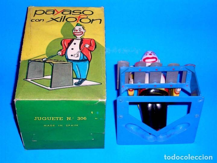 Juguetes antiguos Payá: Payaso con Xilofón ref 306, mecanismo a cuerda, Juguetes Foyé, Barcelona, Paya o similar, años 50-60 - Foto 9 - 115344123