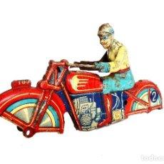 Juguetes antiguos Payá: MOTO MOTOCICLETA DE HOJALATA LITOGRAFIADA. A CUERDA RAI PAYÁ I 804 ORIGINAL AÑOS 30. Lote 118747771