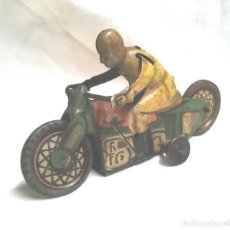 Juguetes antiguos Payá: MOTO RAI PAYÁ AÑOS 30 DE FRICCION, HOJALATA LITOGRAFIADA. MED. 8,50 CM. Lote 128500223