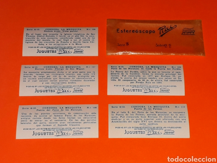 Juguetes antiguos Payá: 5 vistas estereoscópicas *Córdoba La Mezquita* para Estereoscopo Estereoscopio Rai Paya, años 30-40. - Foto 4 - 131177644