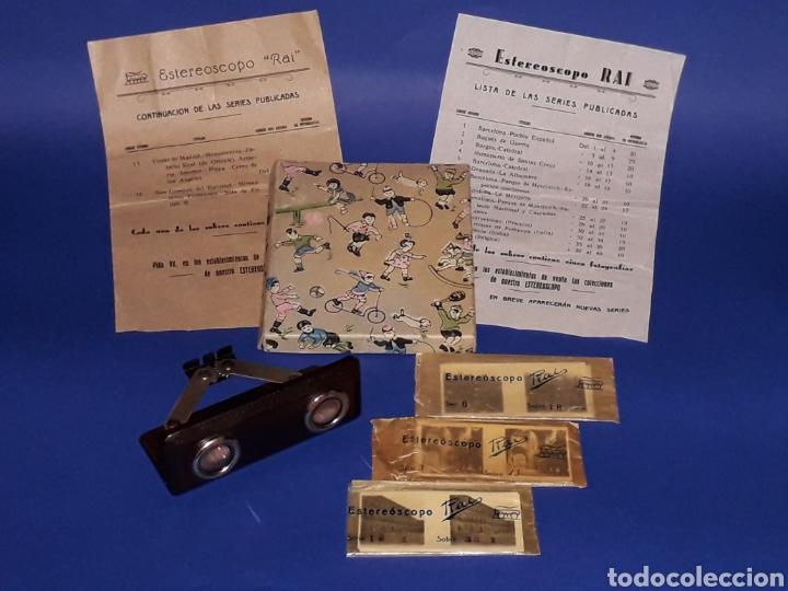 Juguetes antiguos Payá: Visor Estereoscopo Estereoscopio + 3 sobres con vistas + 2 hojas, Rai Paya, años 40. Con caja. - Foto 2 - 131204096
