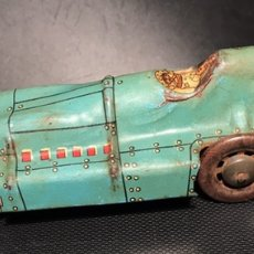 Juguetes antiguos Payá - Auto Bólido Pájaro Azul. Nº 424 del catálogo de Paya. Hojalata Litografiada. Sin resorte - 142082270