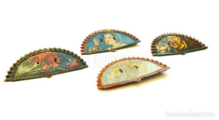 Juguetes antiguos Payá: LOTE DE CUATRO ABANICOS (ABANICO) DE HOJALATA DE PAYÁ. BROCHES IMPERDIBLES AÑOS 40 - Foto 2 - 150829946