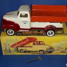 Juguetes antiguos Payá - Camión volquete, plástico-lata, mecanismo de cuerda, Paya IBI made in Spain, año 1958. Con caja. - 27445548