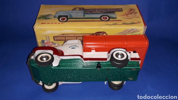 Juguetes antiguos Payá: Camión volquete, plástico-lata, mecanismo de cuerda, Paya IBI made in Spain, año 1958. Con caja. - Foto 9 - 27445548