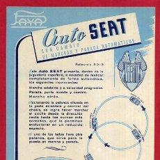 Juguetes antiguos Payá: LAMINA O CARTELITO , PUBLICIDAD AUTOMOVIL SEAT , PAYA , ANTIGUO , ORIGINAL. Lote 165138780