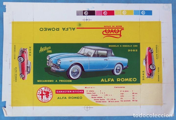 CARTEL LAMINA, PRUEBA COLOR IMPRENTA, PUBLICIDAD PAYA , AUTOMOVIL ALFA ROMEO AUTO ESCALA , ORIGINAL (Juguetes - Marcas Clásicas - Payá)