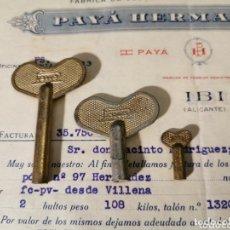 Juguetes antiguos Payá: LLAVES DE JUGUETES DE CUERDA. PAYA. FACTURA DE REGALO CON LAS LLAVES.. Lote 172315043