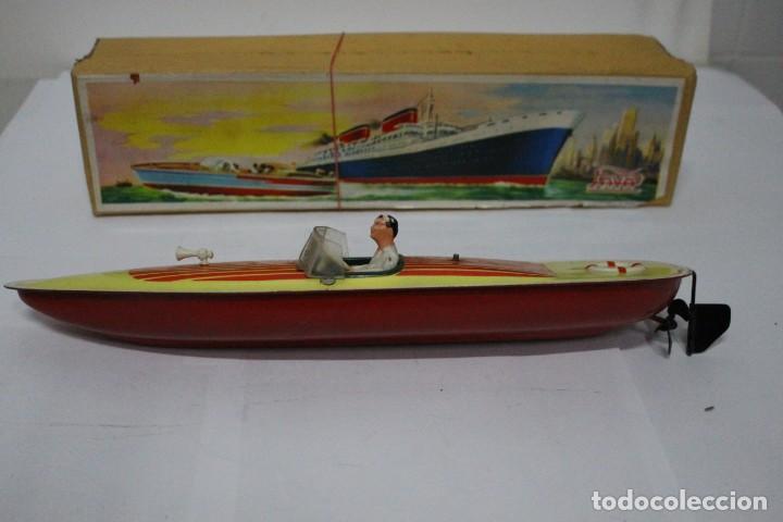 Juguetes antiguos Payá: Lancha 630 Payá con caja original. Años 50. impecable - Foto 4 - 190639463