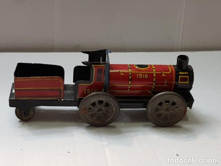 Juguetes antiguos Payá: Locomotora chapa Paya Mitica 1916 años 30 - Foto 2 - 210791589