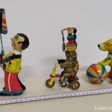 Juguetes antiguos Payá: PAYA - LOTE DE TRES JUGUETES - HOMBRE Y ELEFANTE MALABARISTAS Y PERRO CON PELOTA. Lote 218258836