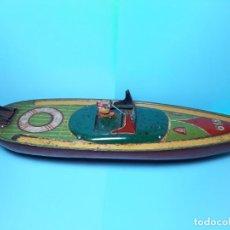 Juguetes antiguos Payá: PAYA, LANCHA HOJALATA 618, GRANDE, 50 CM DE LARGO. Lote 284449333