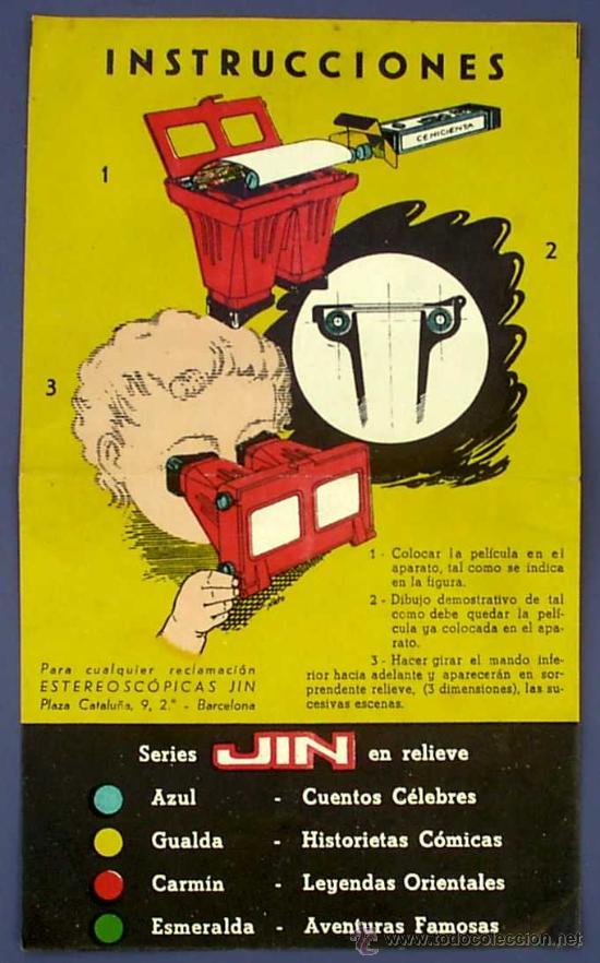 Juguetes Antiguos: CINE INFANTIL EN RELIEVE O 3D JIN. + 5 PELÍCULAS. SIN FECHA. 1950S ? - Foto 12 - 43397975
