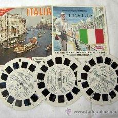 Juguetes Antiguos: VIEW MASTER ITALIA 3 PELÍCULAS Y FOLLETO SERIE NACIONES DEL MUNDO EN ESPAÑOL AÑOS 50. Lote 8364526