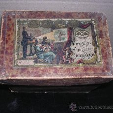 Juguetes Antiguos: LANTERNE MAGICA,E.P. CAJA ORIGINAL 12 CRISTALES LINTERNA DE LATA Y PEANA DE MADERA.. Lote 15985832