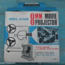 Juguetes Antiguos: ANTIGUO PROYECTOR - PROJECTOR MOVIE - MARCA HARIPET - S.H JAPON - TRIPLE ACTION - EN SU CAJA ORIGINA. Lote 30651860