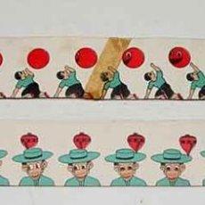 Juguetes Antiguos - DOS PELICULAS ANTIGUAS PARA ZOOTROPO DE PAPEL - MIDE 53 CM DE LARGO APROX - TWO OLD FILM FOR ZOOTROP - 38249970