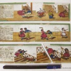 Juguetes Antiguos: 3 VISTAS DE CRISTAL DE LINTERNA MAGICA. Lote 52009192