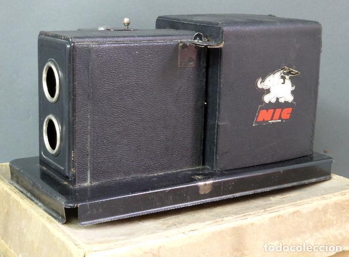 Juguetes Antiguos: Proyector Cine Nic tamaño grande cartón base hojalata años 40 Modelo para sonoro - Foto 3 - 70086665