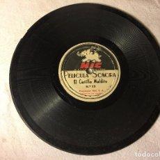 Juguetes Antiguos: DISCO PIZARRA PELÍCULA SONORA CINE NIC SONORO: Nº 22 CASTILLO MALDITO Y Nº 13 EL GRAN PREMIO.. Lote 71599411
