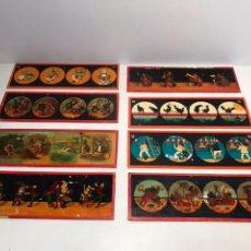 Juguetes Antiguos: LOTE 8 PLACAS DE CRISTAL PARA LINTERNA MAGICA. 24 X 8.. Lote 104175823