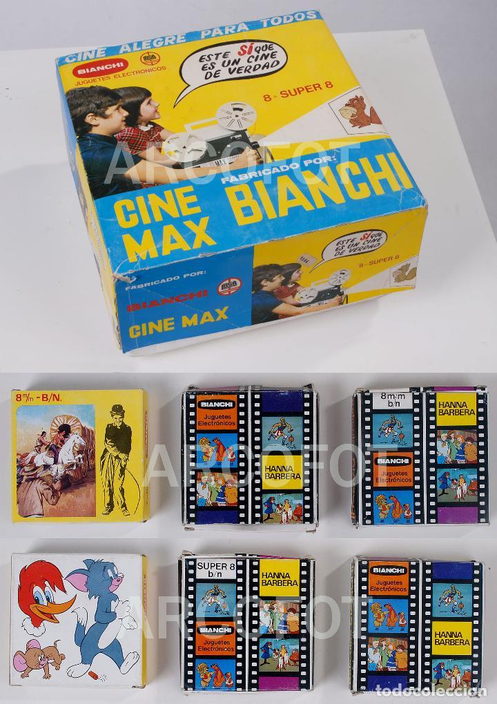 CINE MAX BIANCHI 8 SUPER 8 + 3 PELÍCULAS BIANCHI (Juguetes - Pre-cine y Cine)