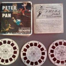 Juguetes Antiguos: 3 DISCOS DE PETER PAN VIEW MASTER 1957 3 D ESTEREOSCÓPICO DIAPOSITIVAS CON LIBRO. Lote 111909475
