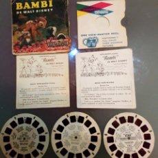 Juguetes Antiguos: 3 DISCOS DE BAMBI VIEW MASTER 1956. 3 D ESTEREOSCÓPICO DIAPOSITIVAS . Lote 111918539