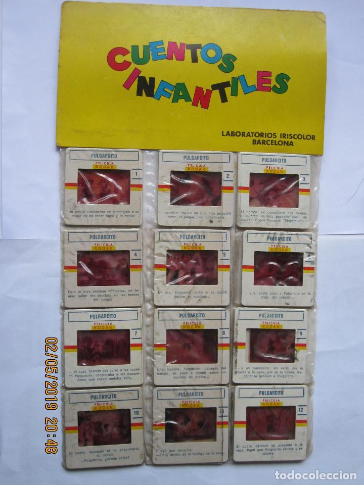 ANTIGUAS DIAPOSITIVAS KODAK CUENTOS INFANTILES IRISCOLOR CUENTO PELICULA PULGARCITO 12 DIAPOSITIVA (Juguetes - Pre-cine y Cine)