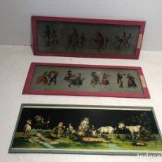Juguetes Antiguos: LOTE 3 PLACAS DE CRISTAL PARA LINTERNA MAGICA. 30 X 11.. Lote 182827810